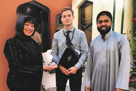 Deborah du Toit at Al Moor Mosque with Noah Davies and Mohammad Israfil Hossain