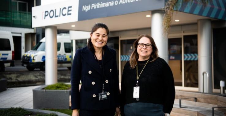 Victim Support Worker with Oranga Tamaraki worker at NZ Police Ponsonby